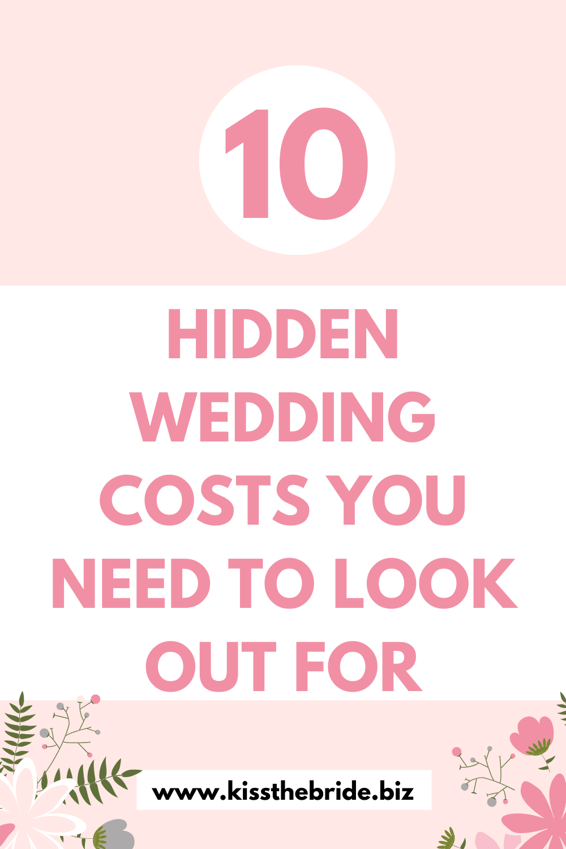 Hidden wedding costs