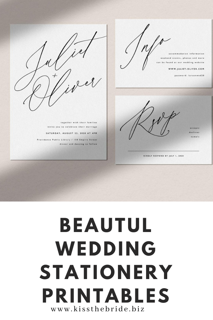Wedding stationery printables
