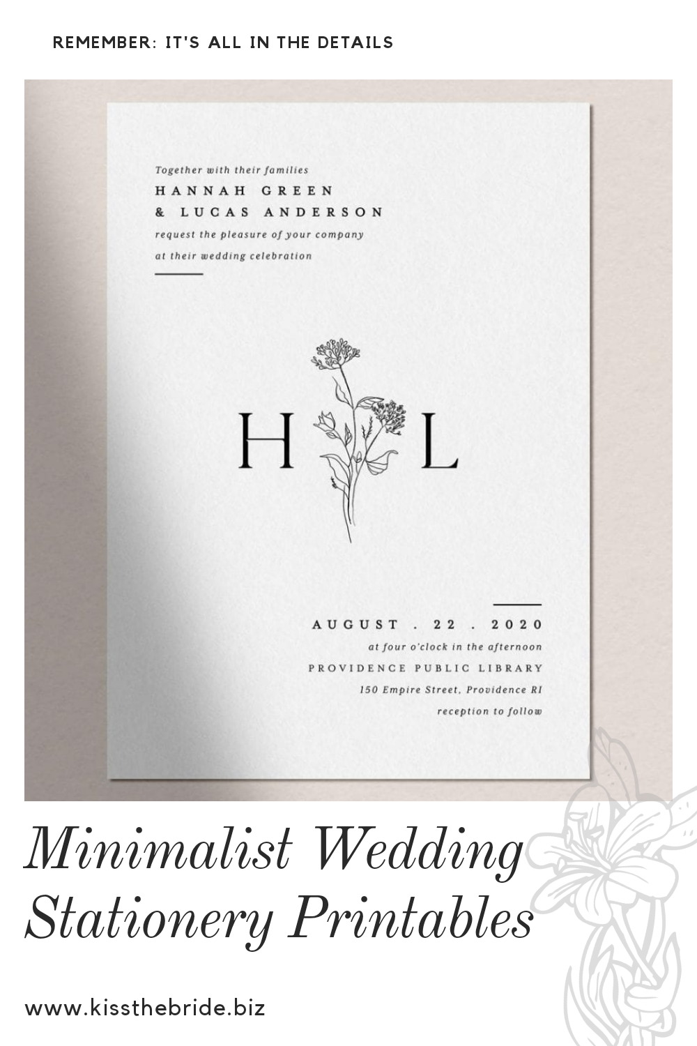Minimalist wedding stationery