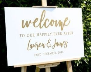 Gold and White Wedding Welcome sign