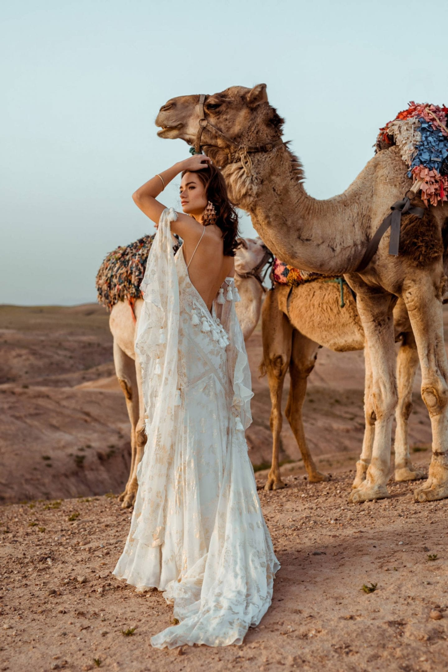 Ivory and gold backless boho wedding dress