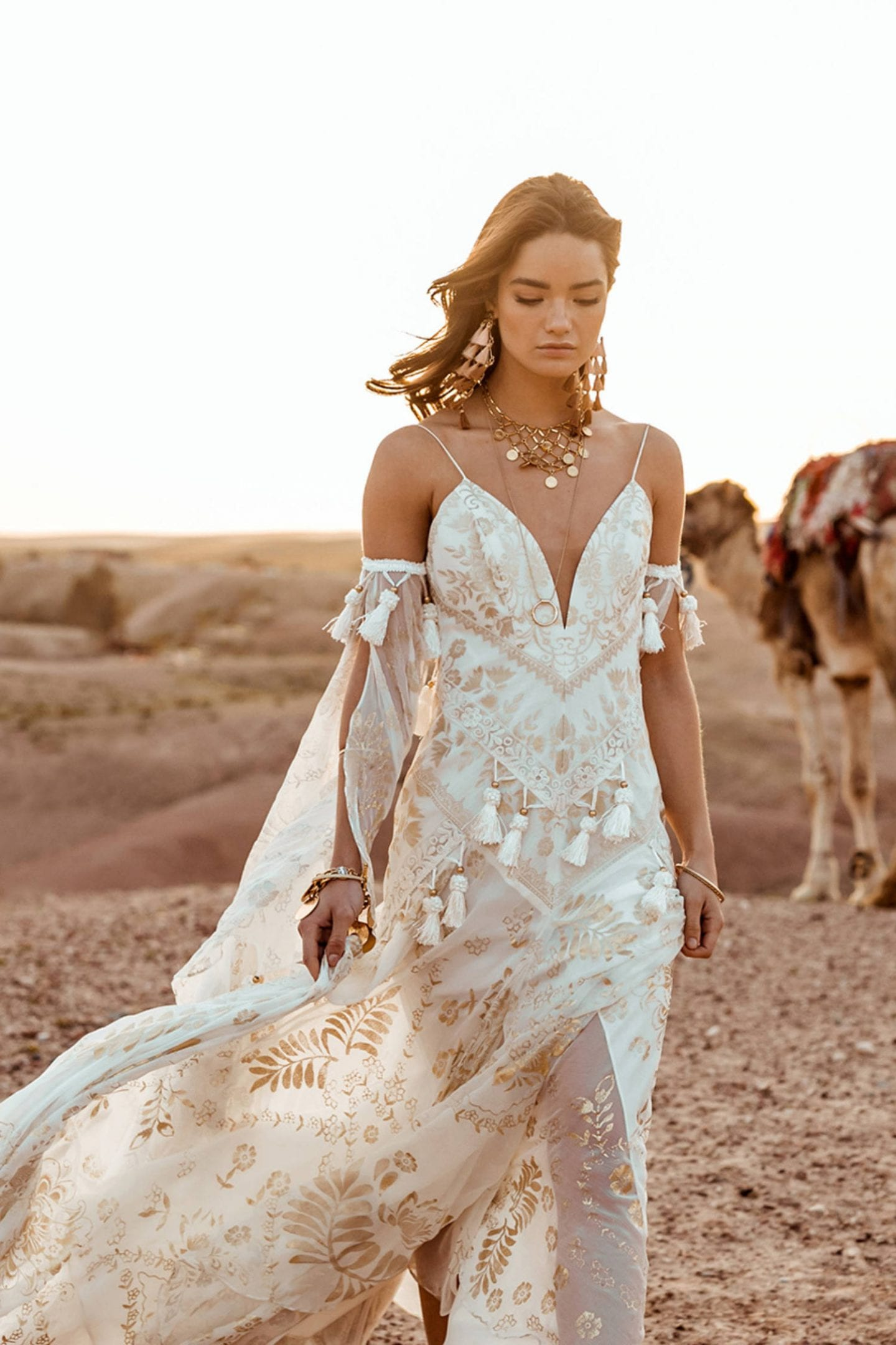Ivory and gold boho Wedding Dress