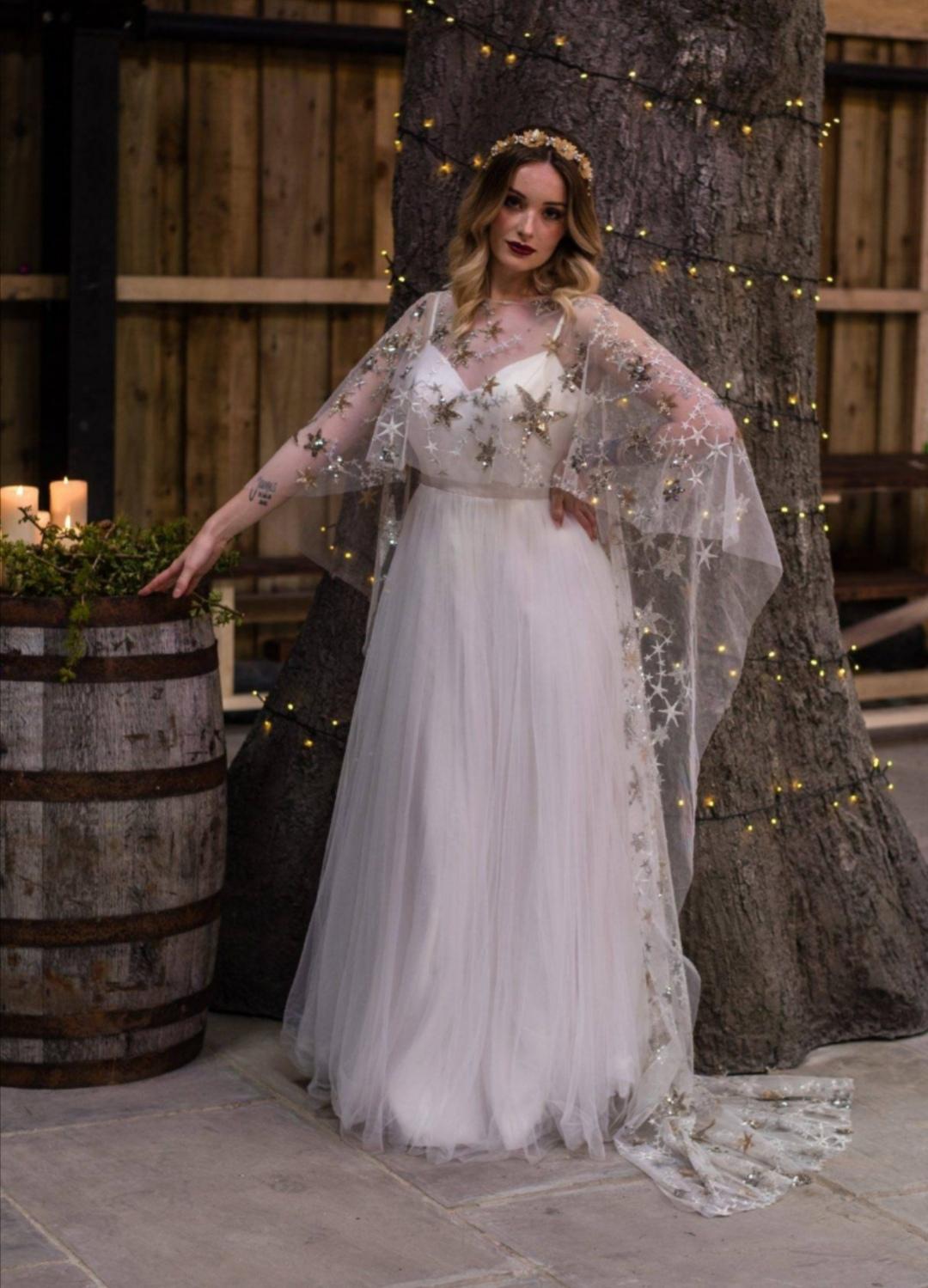Gold wedding dress with stars