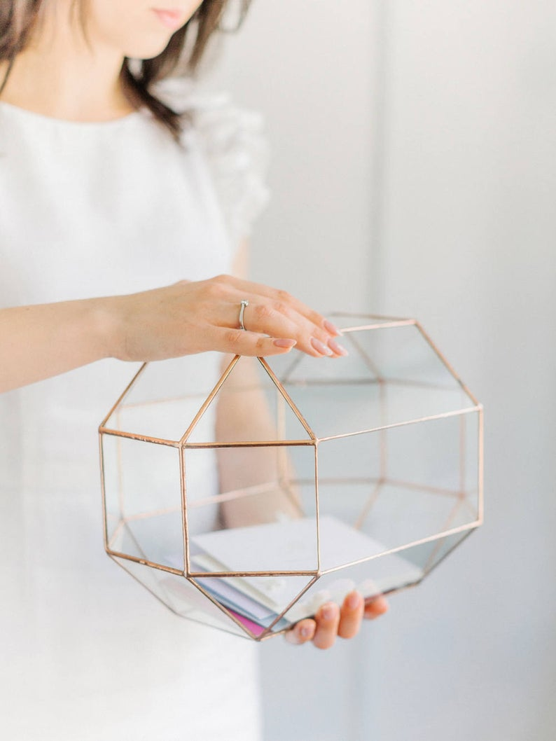 Geometric glass wedding card box