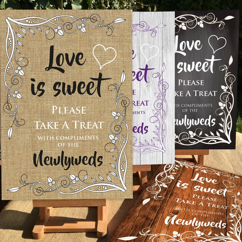 Love is sweet wedding signs