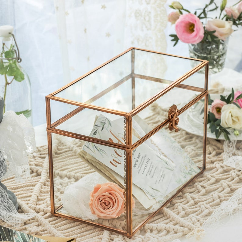 Glass wedding card box