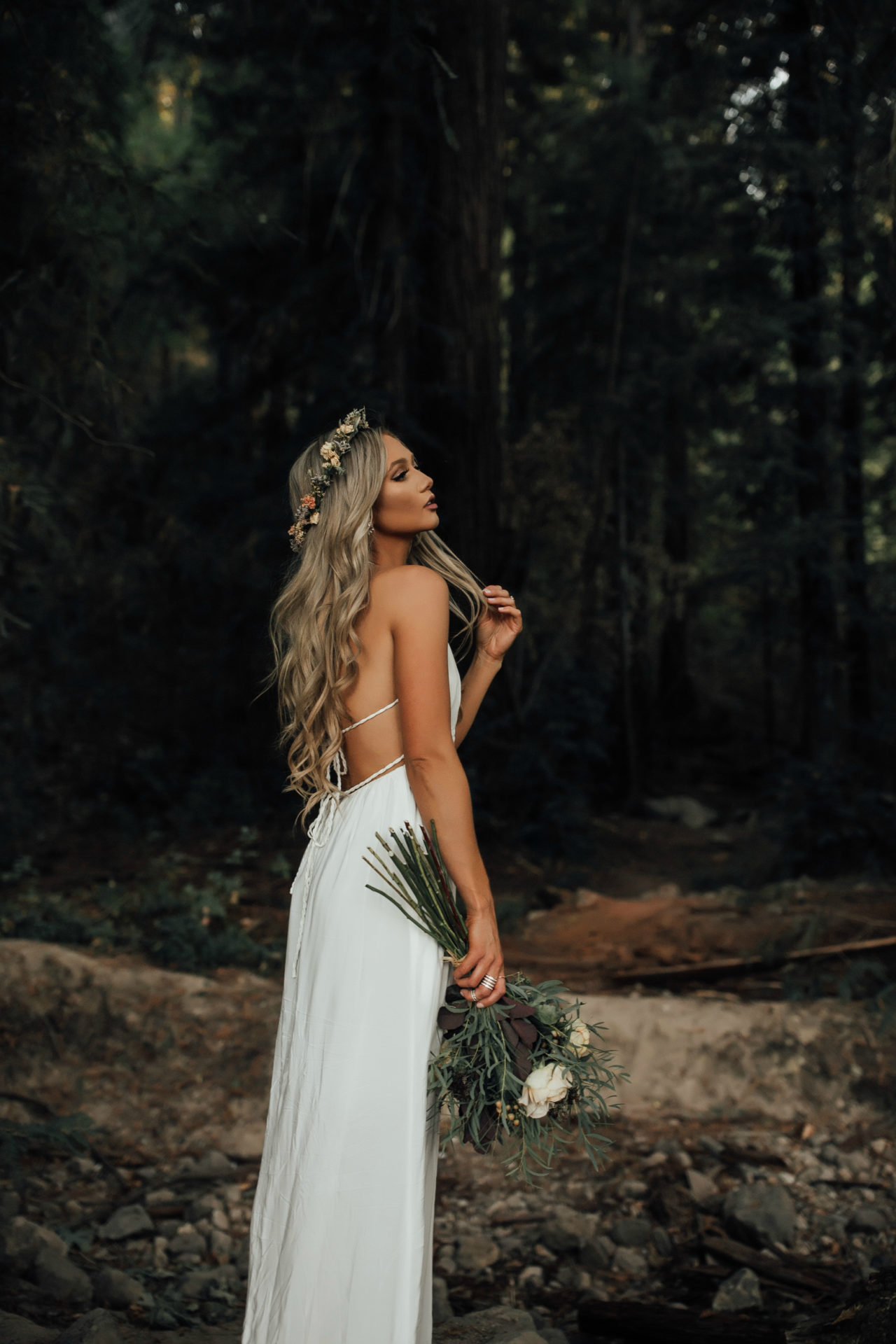 Long wedding hair with flowers
