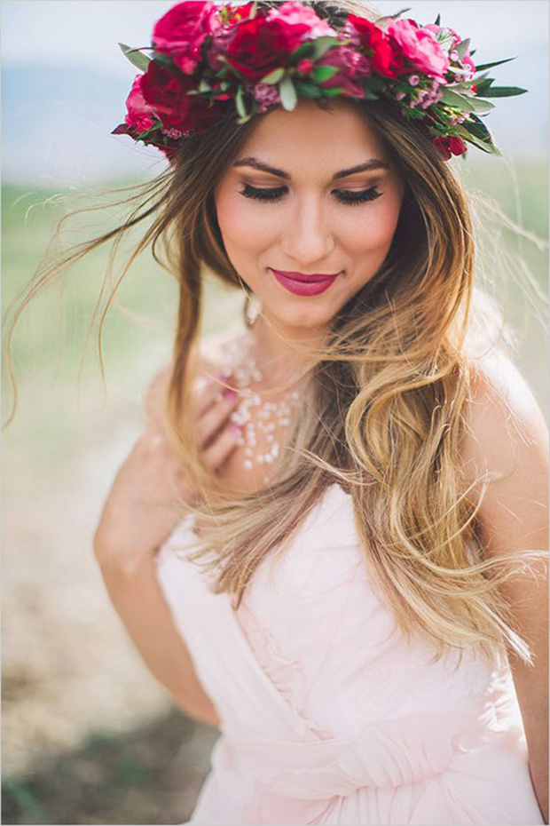 Long bridal hair with flowers