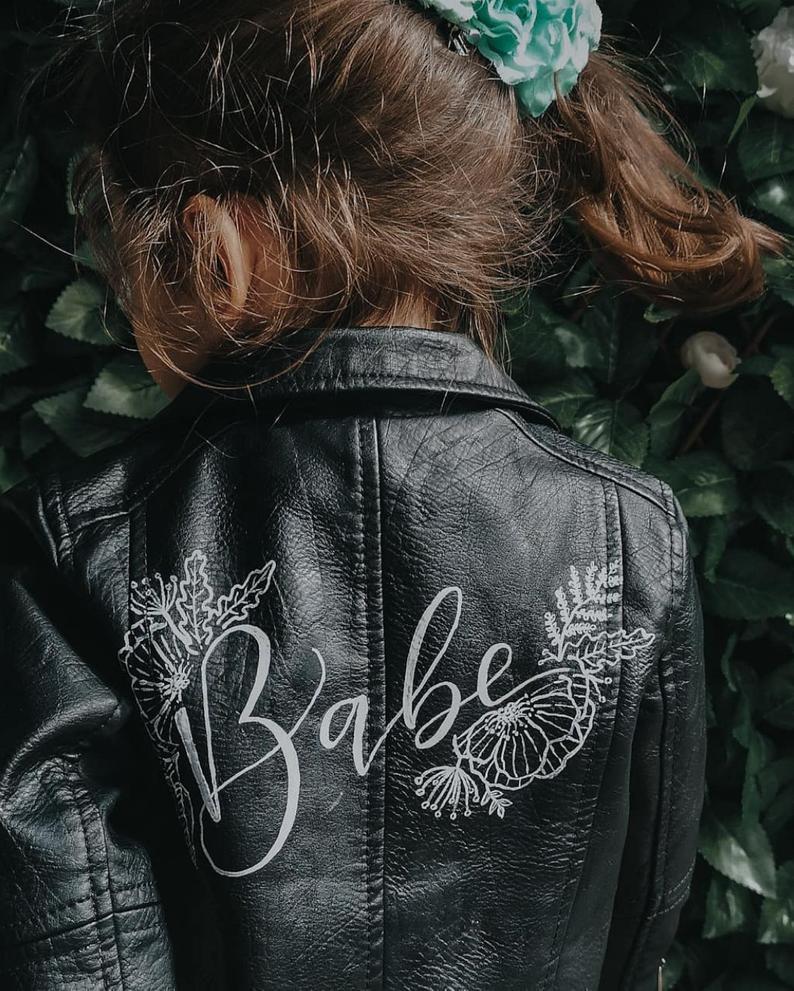 Flower girl leather jacket
