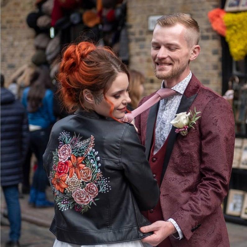 Custom painted wedding jacket