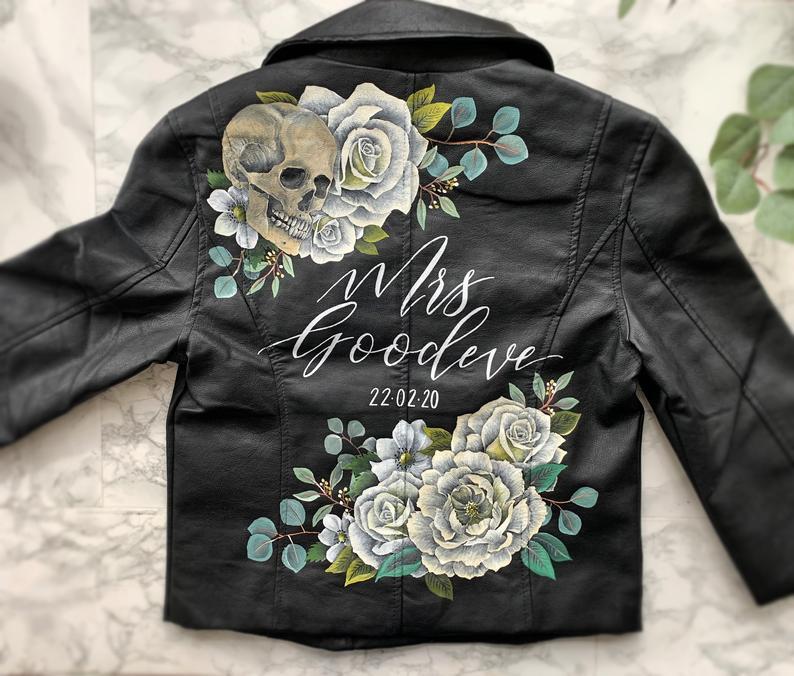 Floral Wedding leather jacket