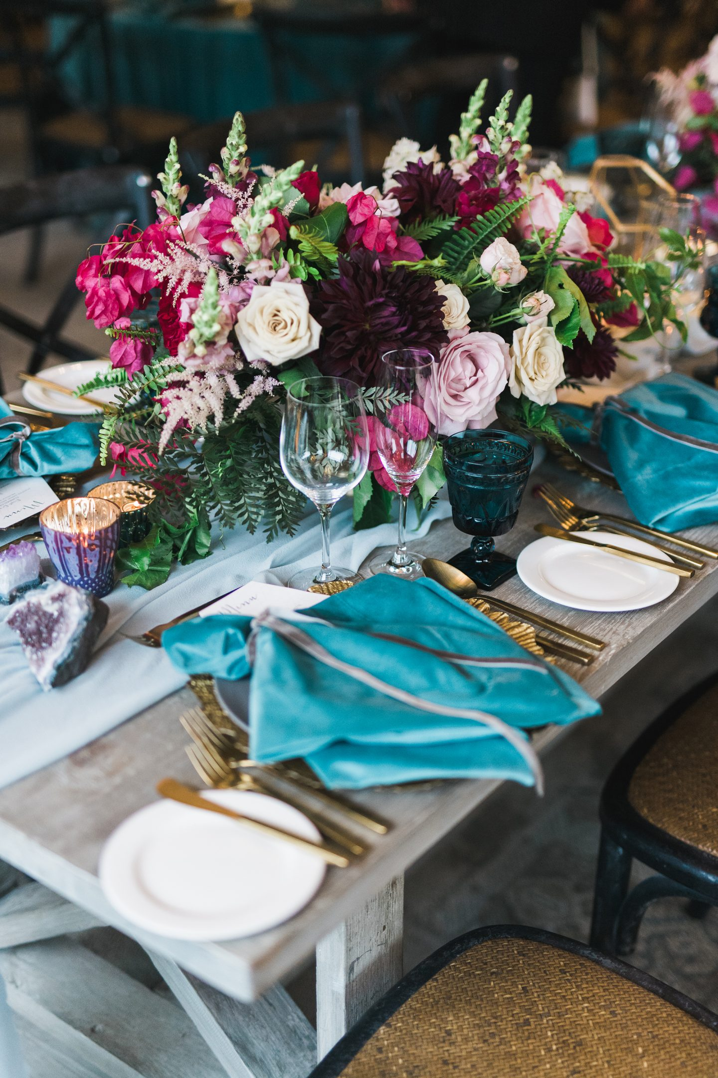 Jewel coloured table centres