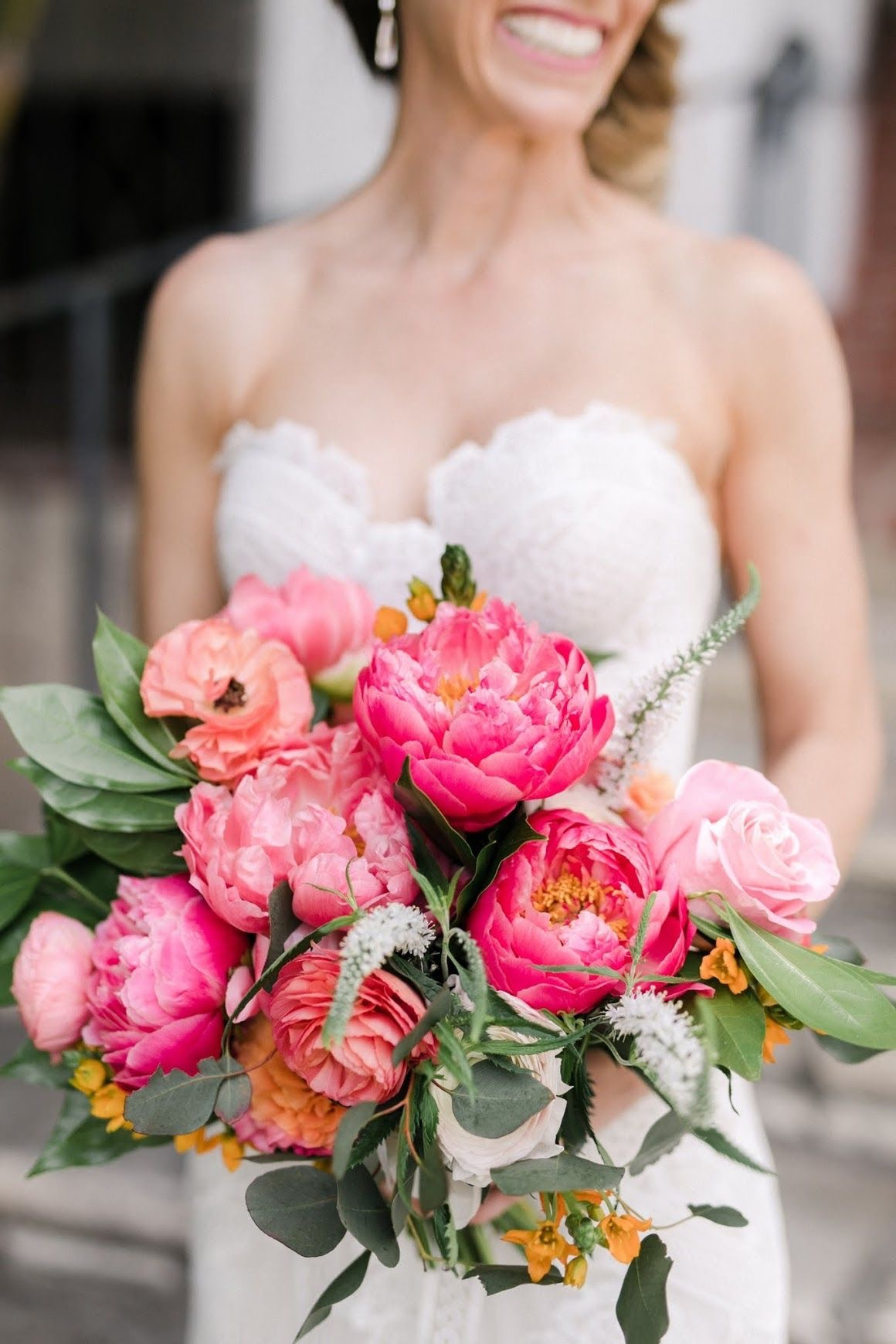 Pink peony brides bouquet