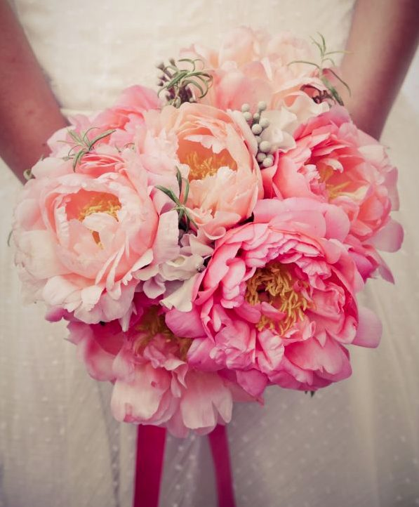 Coral pink peony wedding bouquet