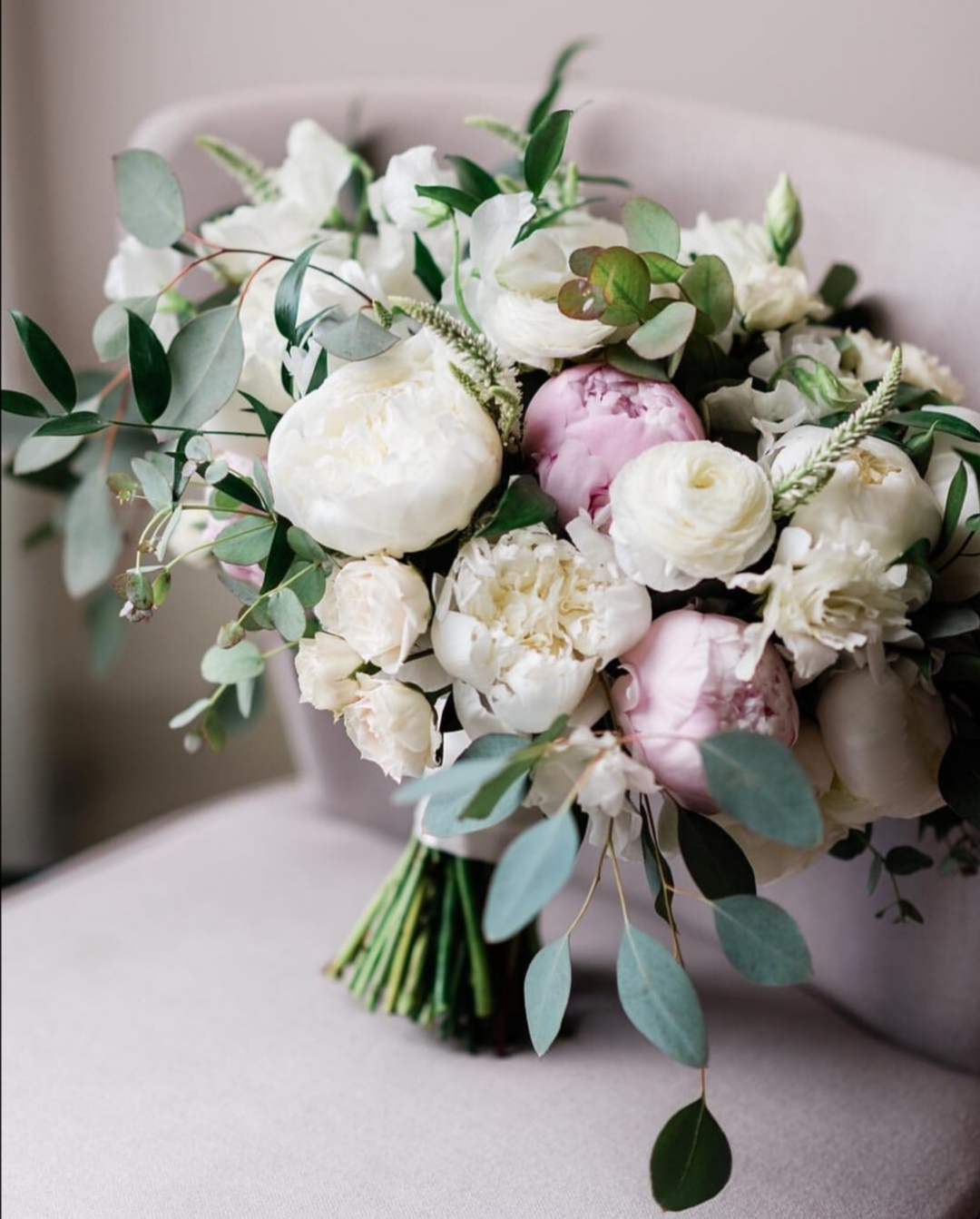 Pale pink bridal peony bouquets