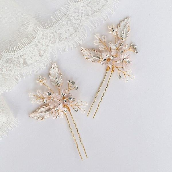 Rose gold bridal hairpins