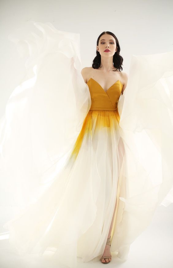 Yellow ombré wedding dress