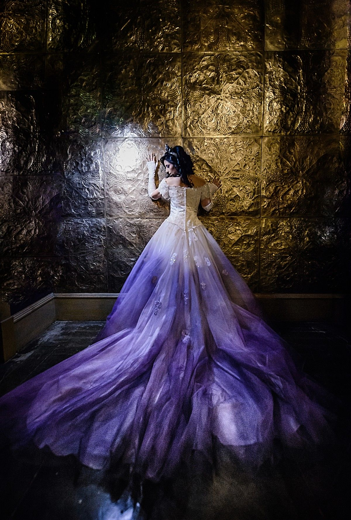 Purple ombré wedding dress