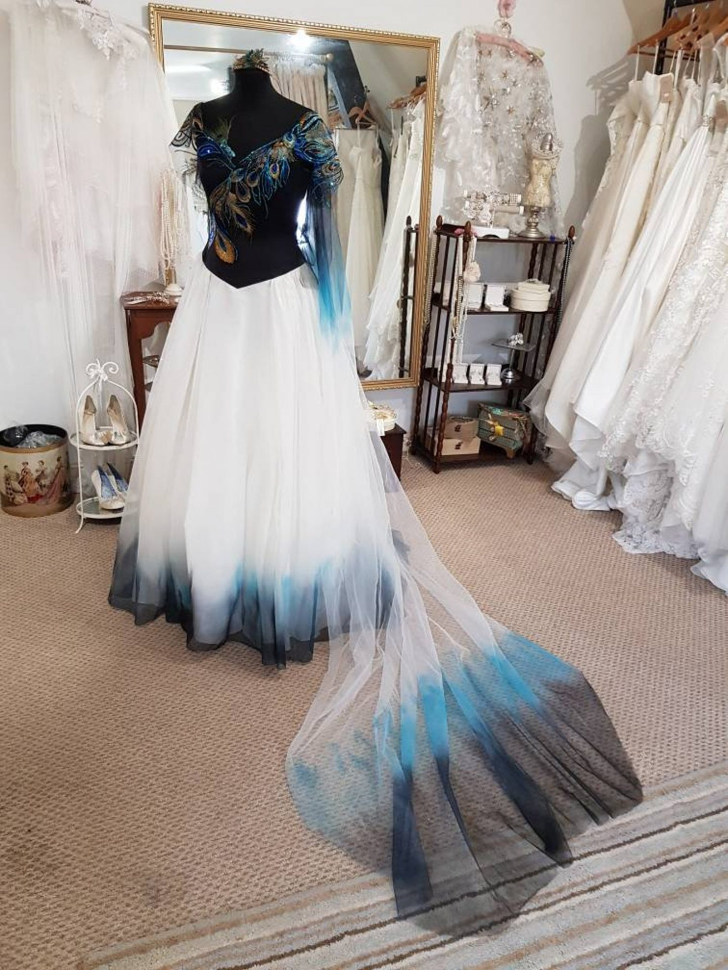 Peacock blue ombré wedding dress