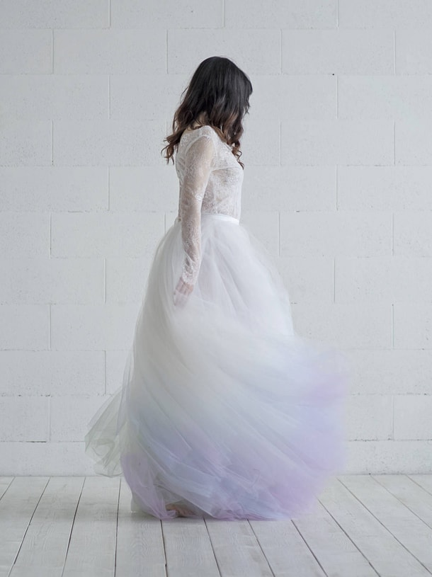 Lilac ombré wedding dress