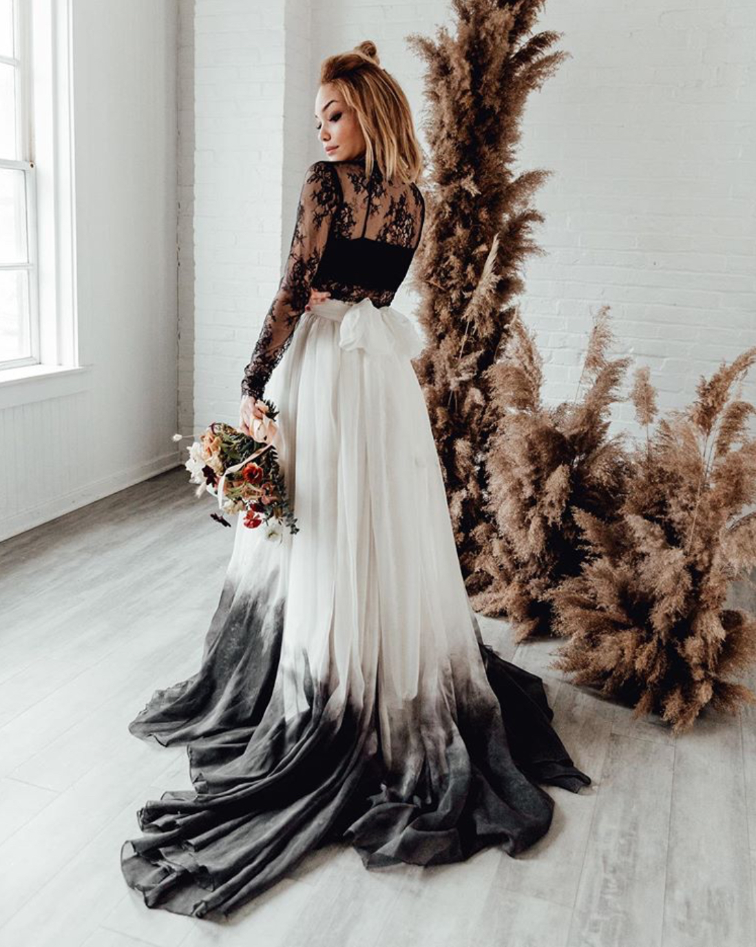 Black ombré wedding dress