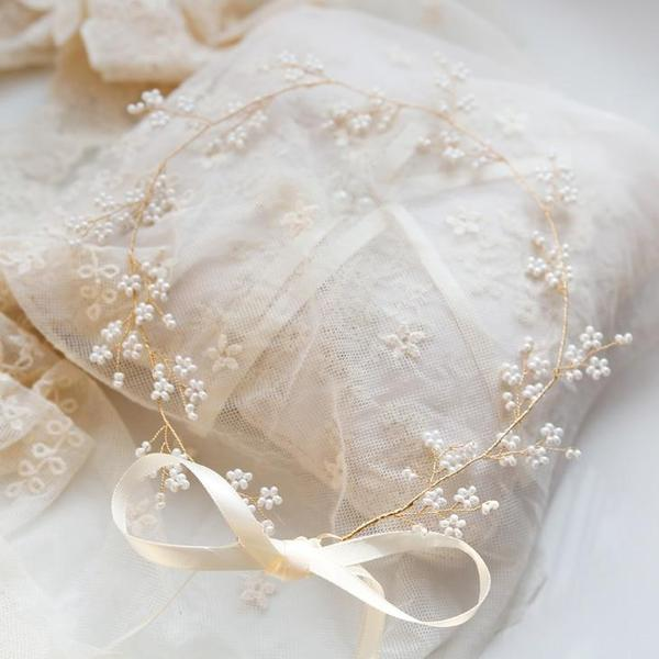 Lacey beaded bridal hair vine