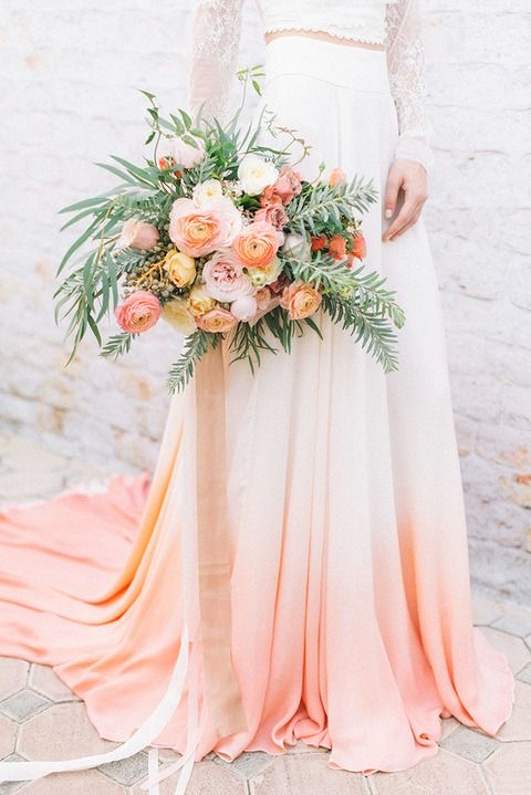 Coral ombré wedding dress