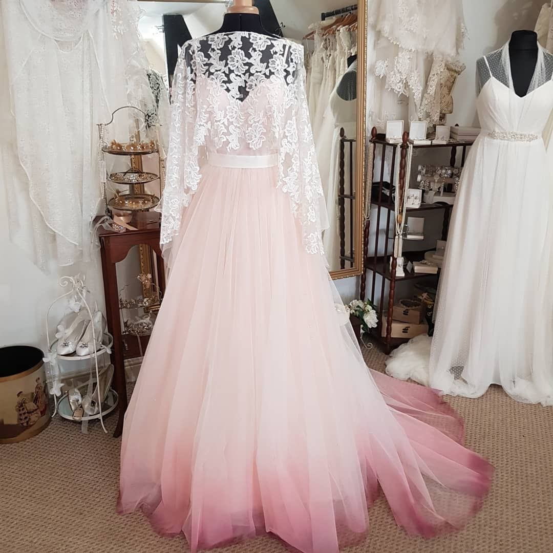 Pink ombré wedding dress