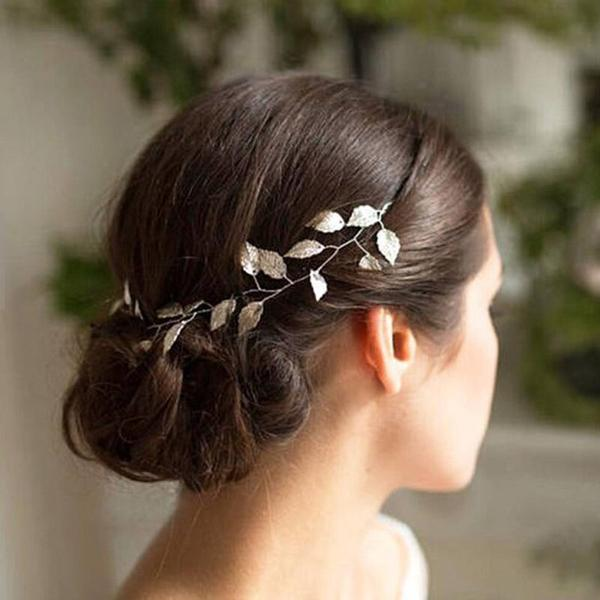 Silver leaf bridal hair accessory