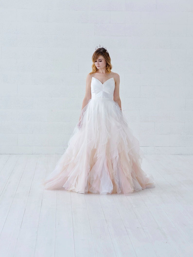 Pale pink Ombre Wedding dress
