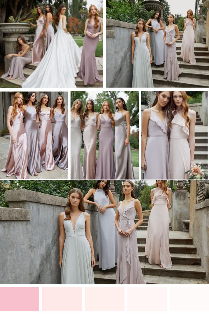 Jenny Yoo pink bridesmaids dresses