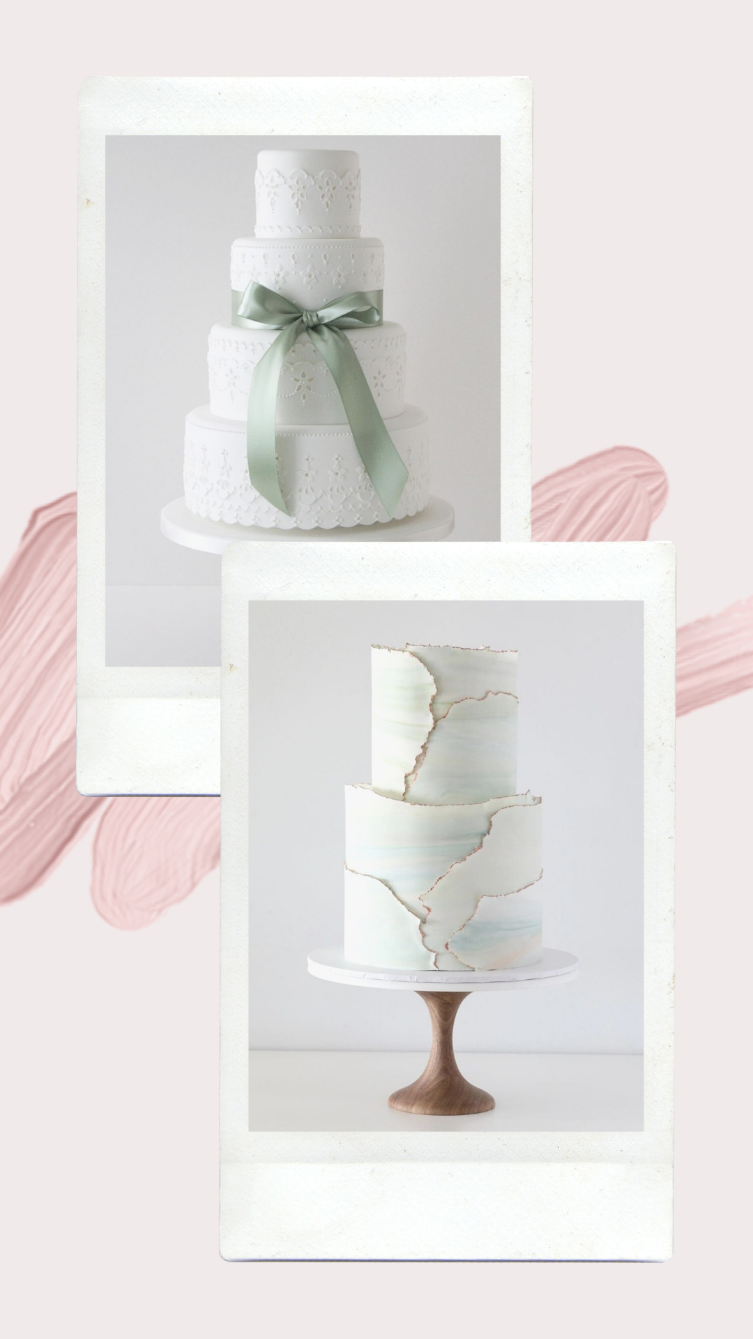 Pale green wedding cakes