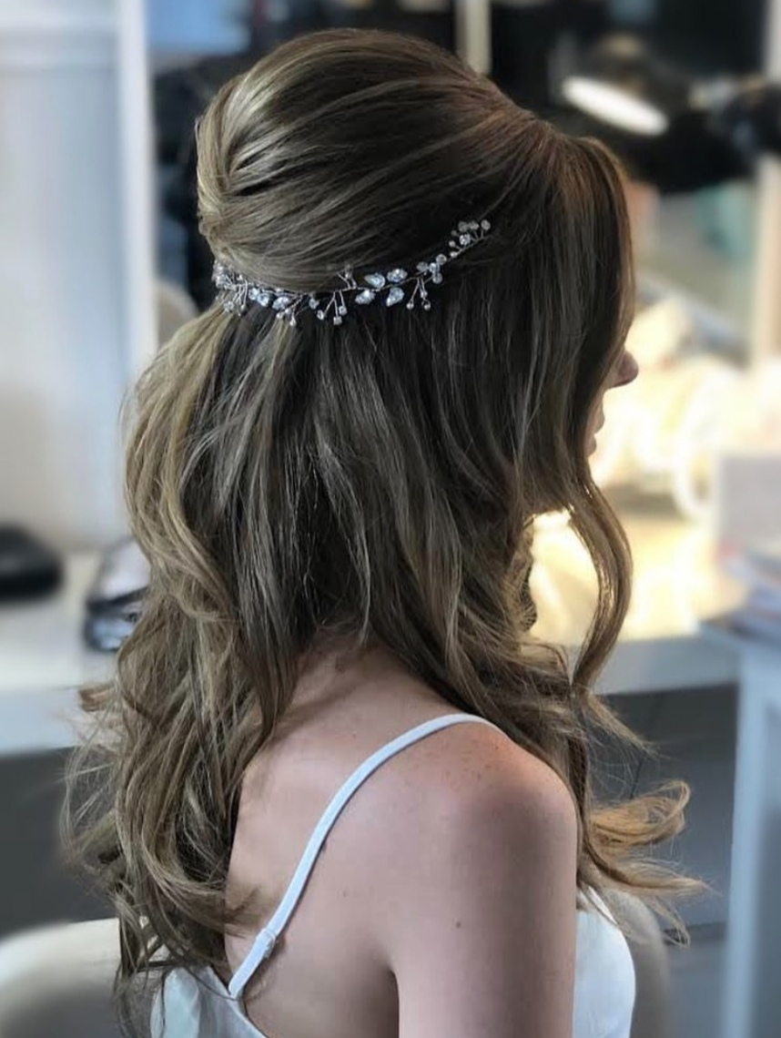 Brideshalfup wedding hairstyle