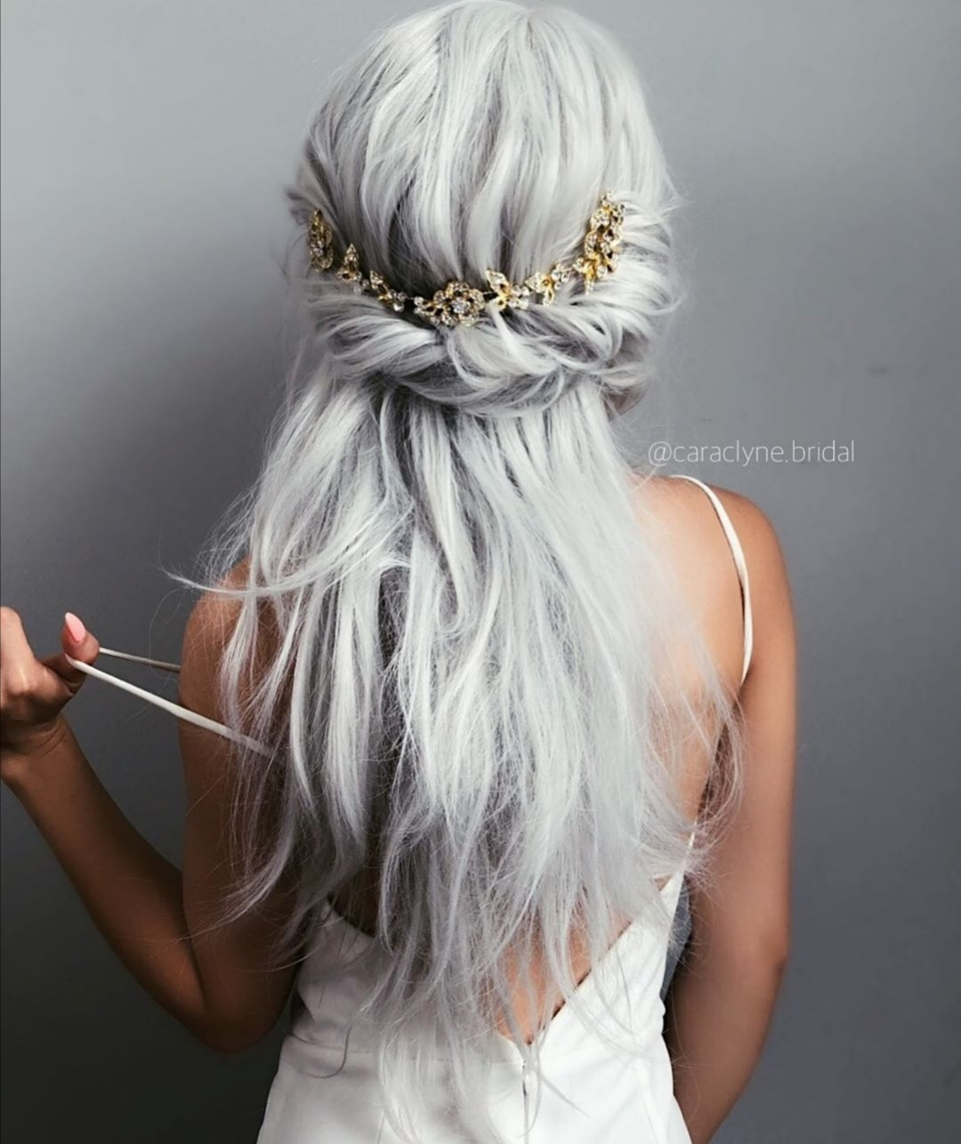 Half up half down brides hairstyle