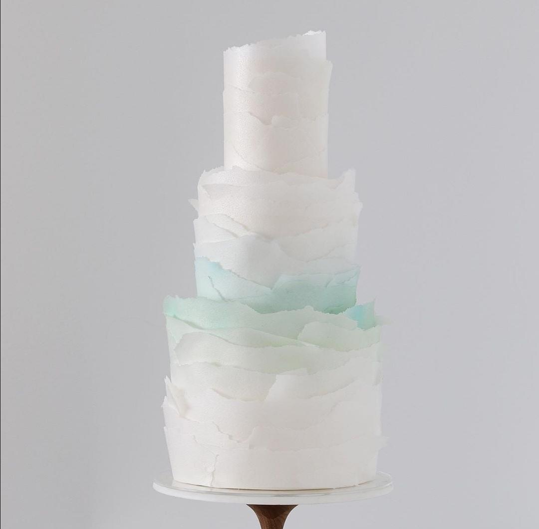 Pale green wedding cake