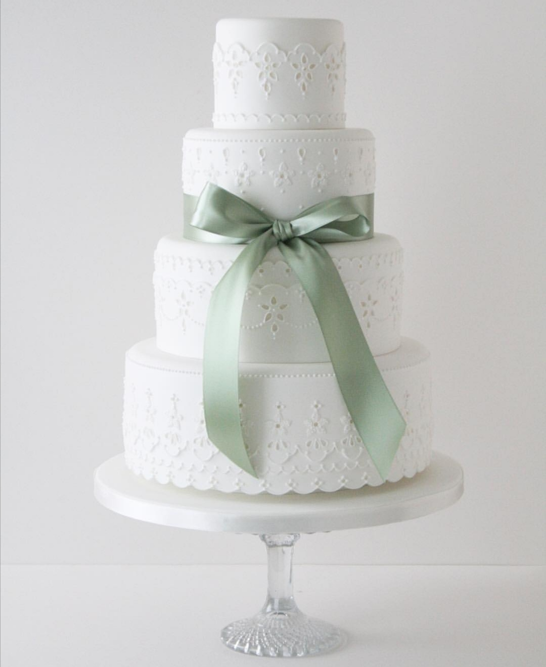 Sage Green and white wedding cake