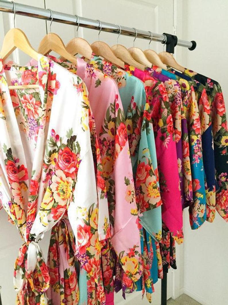 Kimono bridesmaid dressing gowns