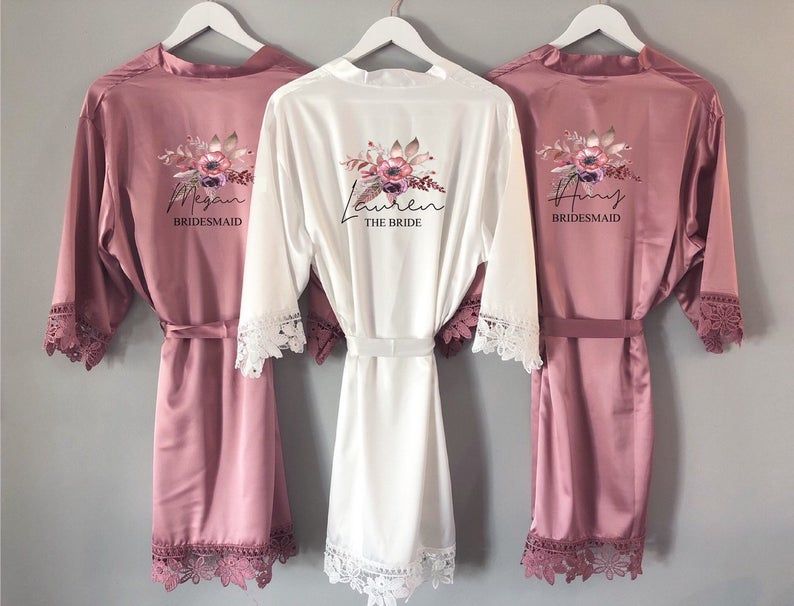 Pink bridesmaid robes
