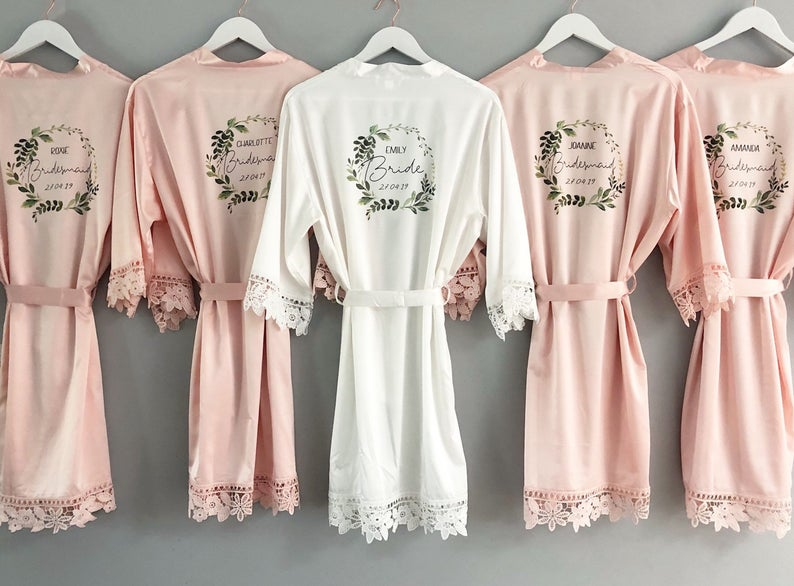 Personalised bridesmaid robes