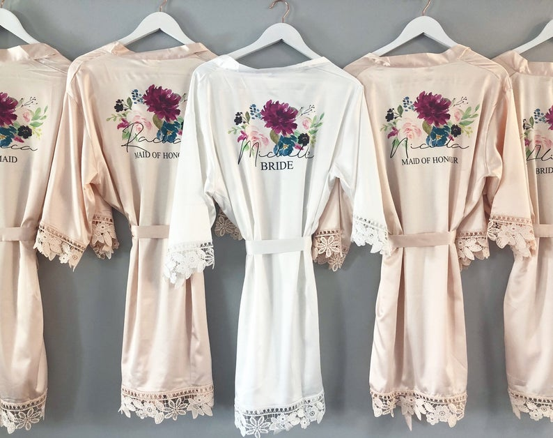 Satin bridesmaid robes