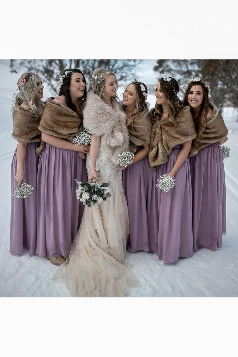 Winter wedding faux fur wrap