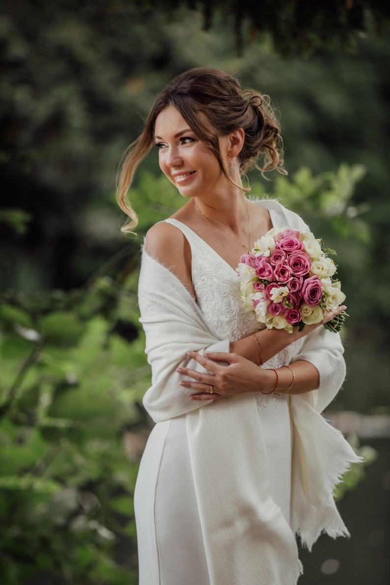 Ivory Knitted wedding shawl