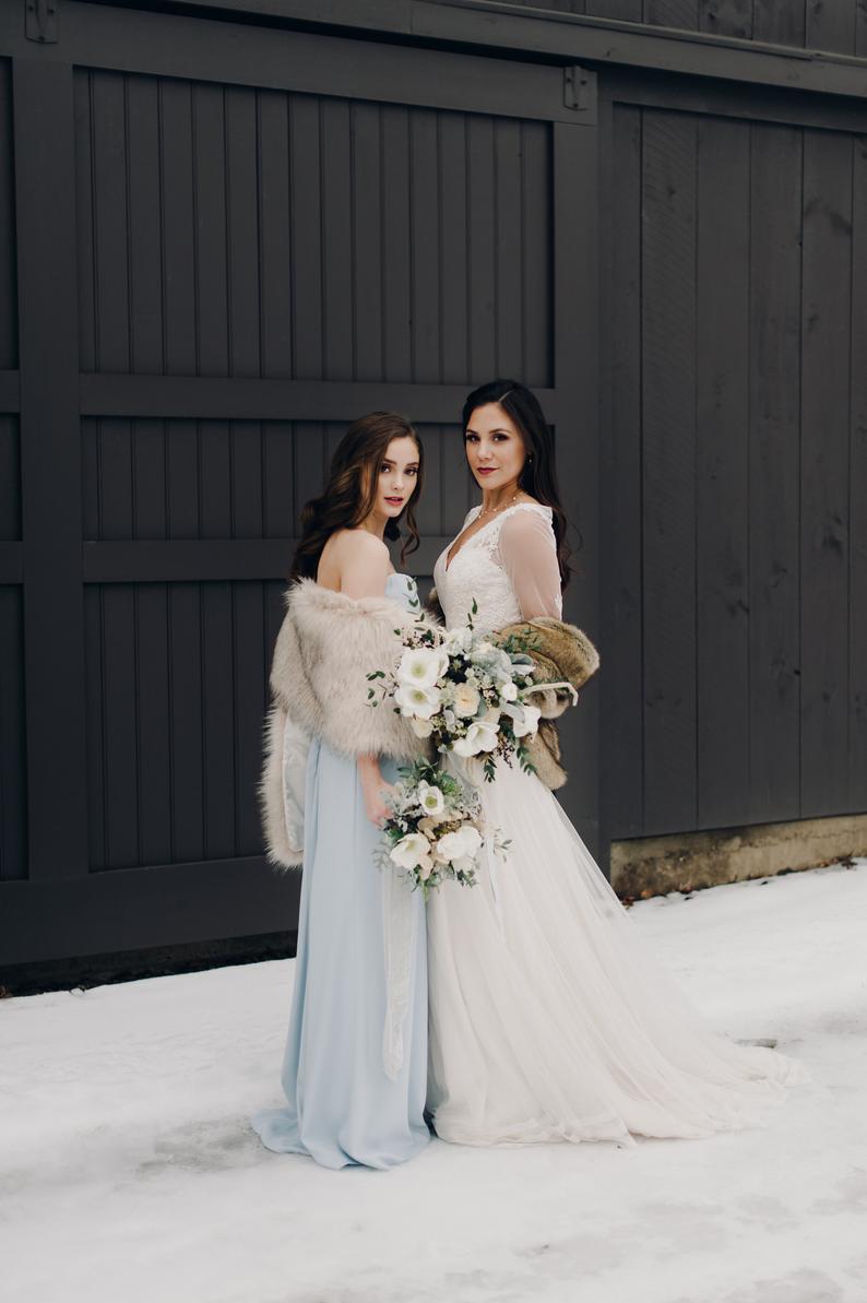 Fur wedding wrap