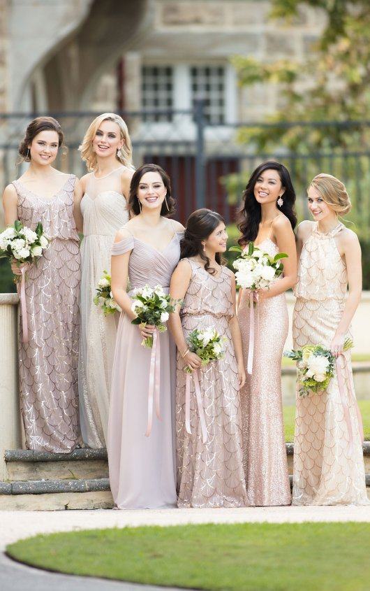 Gold bridesmaids gowns