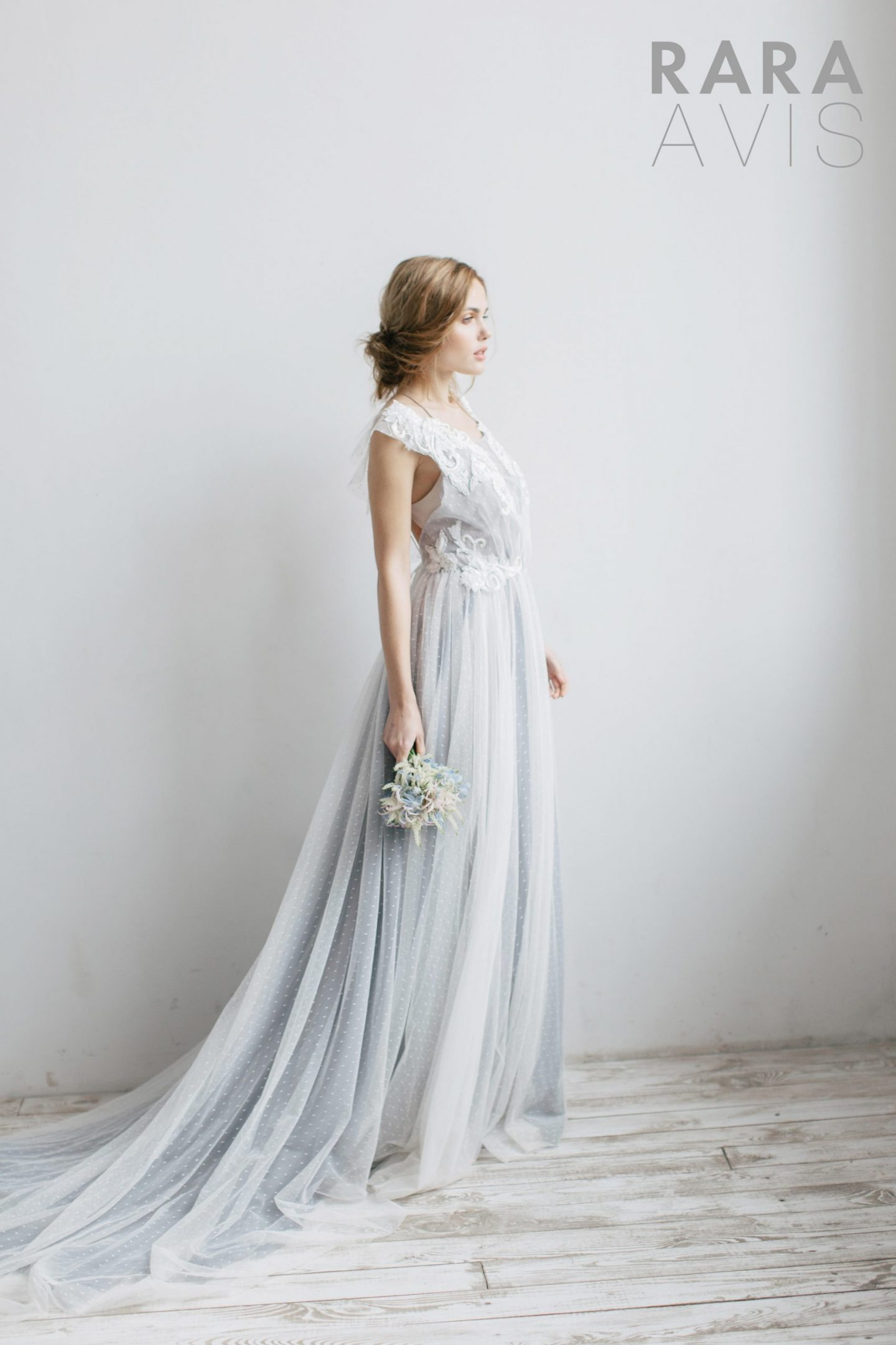 Pale blue romantic wedding dress