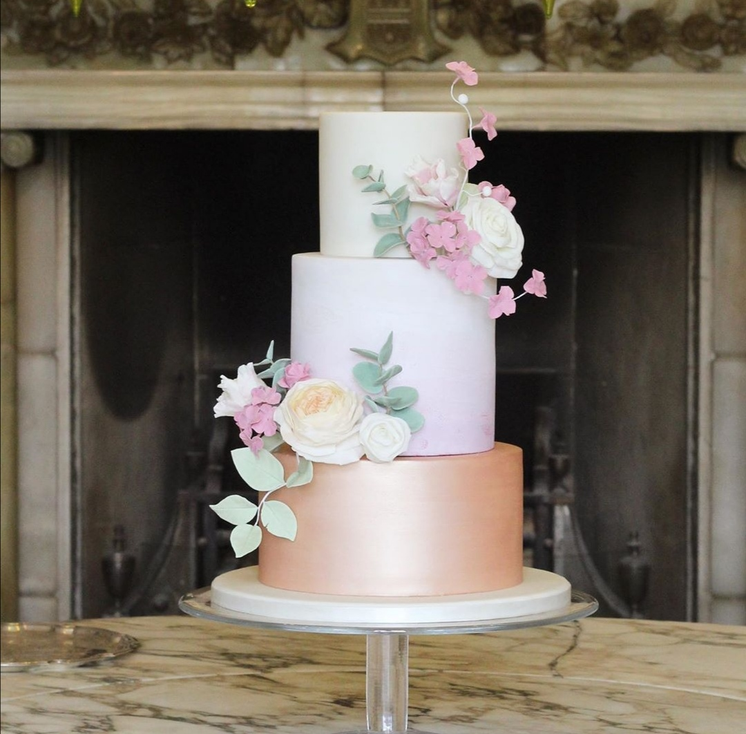 Rose Gold and pink wedding cake