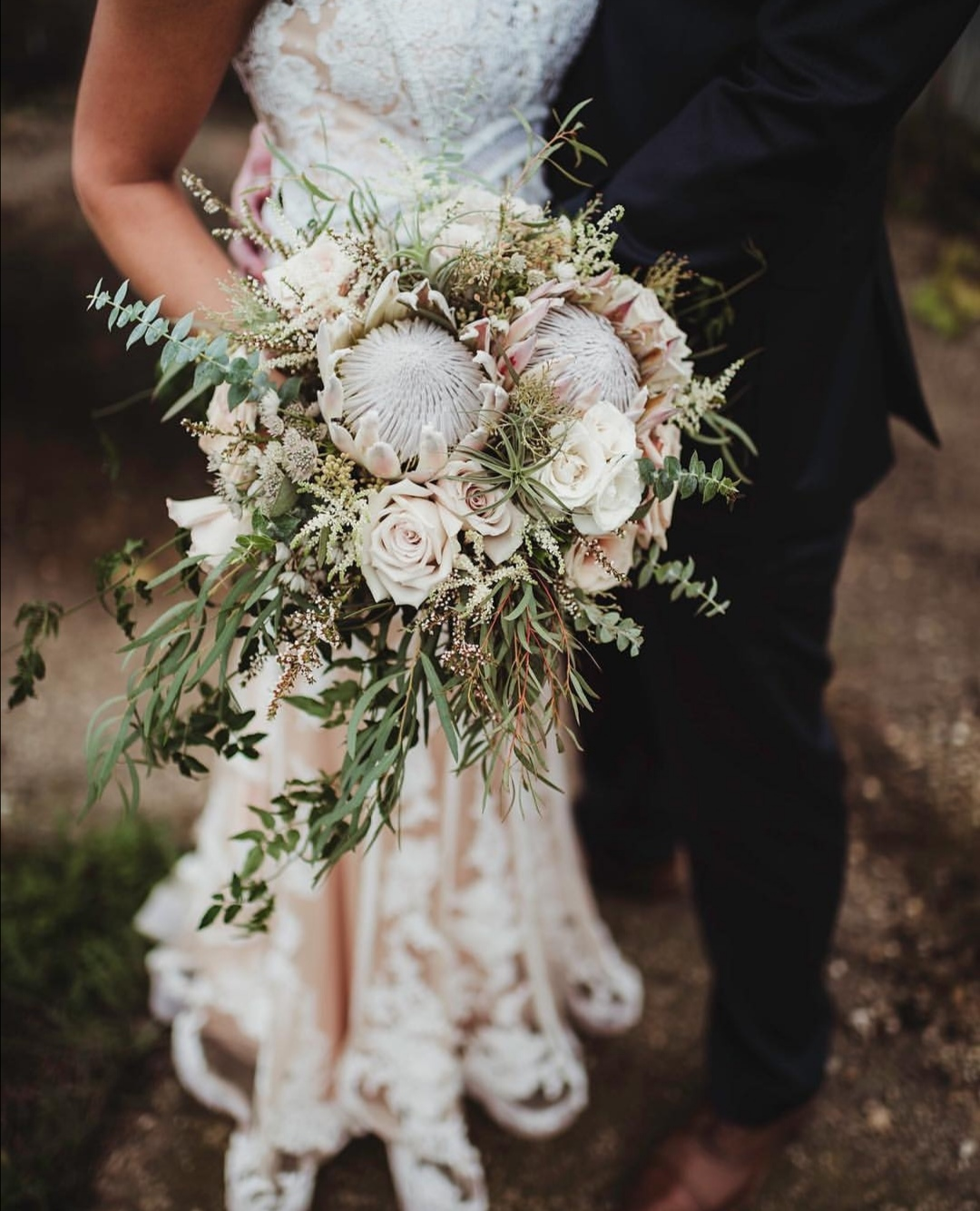 Pale pink Protea wedding bouquet