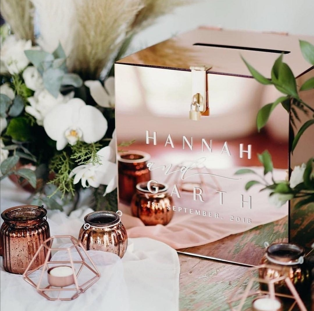 Rose gold wedding post box