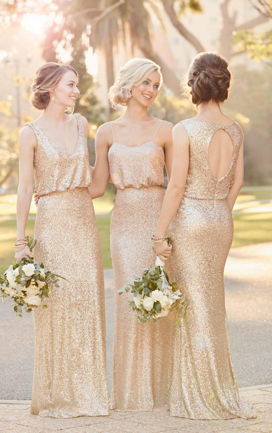 Gold sequinned bridesmaids