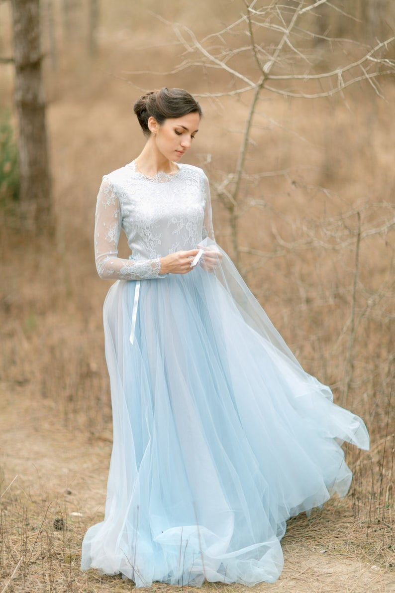 Long sleeve pale blue wedding dress